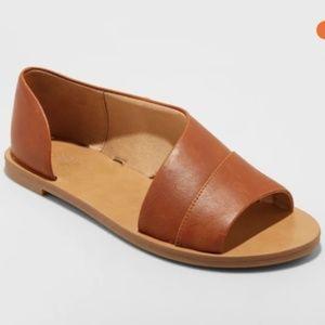 Lissa Asymmetrical Slide Sandals Cognac/Size: 7.5